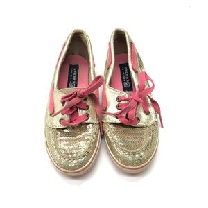 Sperry Kids Girls Gold Metallic Top Sider Sneakers